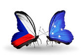 Butterflies with  Czech and Micronesia flags — Stock Photo