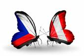 Butterflies with Czech and Peru flags — Stock Photo