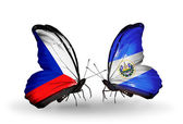 Butterflies with Czech and  Salvador flags — Fotografia Stock