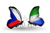 Butterflies with Czech and Sierra Leone flags — Stock Photo