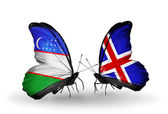 Butterflies with Uzbekistan and Iceland flags — Stock Photo