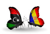 Butterflies with Libya and Andorra flags — Stock Photo