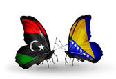 Butterflies with  Libya and Bosnia and Herzegovina flags — Stockfoto