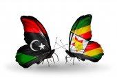 Butterflies with Libya and Zimbabwe flags — Stock Photo