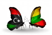 Butterflies with Libya and Lithuania flags — Stockfoto