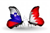 Butterflies with Slovenia and Bahrain flags — Stock Photo