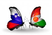 Butterflies with  Slovenia and Niger flags — Foto Stock