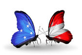 Butterflies with Micronesia and Austria flags — Foto Stock