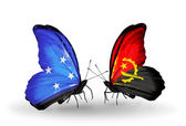 Butterflies with  Micronesia and Angola flags — Foto Stock