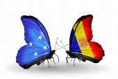 Butterflies with Micronesia and Andorra flags — Foto Stock