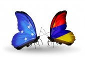 Butterflies with Micronesia and Armenia flags — Stock fotografie