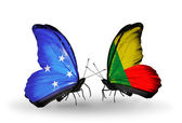 Butterflies with Micronesia and Benin flags — Foto Stock