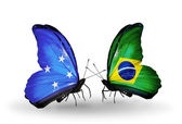 Butterflies with Micronesia and Brazil flags — Stock fotografie