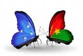 Butterflies with  Micronesia and Burkina Faso flags — Foto Stock