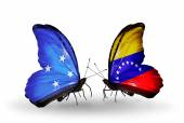 Butterflies with Micronesia and Venezuela flags — Fotografia Stock