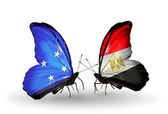 Butterflies with  Micronesia and Egypt flags — Foto Stock