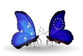 Butterflies with Micronesia and European Union flags — Stock fotografie
