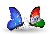 Butterflies with Micronesia and India flags — Foto Stock