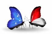 Farfalle con Micronesia e Monaco, bandiere di Indonesia — Foto Stock