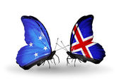 Butterflies with Micronesia and Iceland flags — Foto Stock