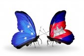 Butterflies with Micronesia and Cambodia flags — Stock fotografie