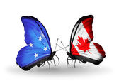 Butterflies with Micronesia and Canada flags — Foto Stock