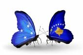 Butterflies with Micronesia and  Kosovo flags — Stock fotografie