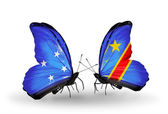 Butterflies with Micronesia and Kongo flags — Foto Stock