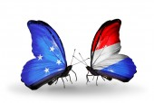 Butterflies with Micronesia and Luxembourg flags — Foto Stock