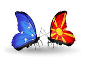 Butterflies with Micronesia and Macedonia flags — Stock fotografie