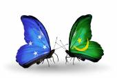 Butterflies with Micronesia and Mauritania flags — Foto Stock