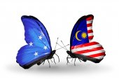 Butterflies with Micronesia and Malaysia flags — Foto Stock