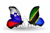 Butterflies with Slovenia and Tanzania flags — Foto Stock