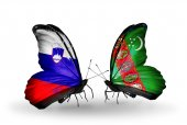 Butterflies with Slovenia and Turkmenistan flags — Stock fotografie