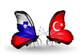 Butterflies with  Slovenia and  Turkey flags — Stock fotografie