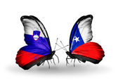 Butterflies with Slovenia and Chile flags — Foto Stock