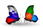 Butterflies with  Slovenia and Eritrea flags — Stock fotografie