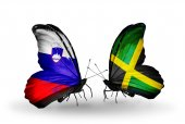 Butterflies with Slovenia and Jamaica flags — Foto Stock
