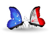 Butterflies with Micronesia and Malta flags — Stock fotografie