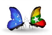 Butterflies with Micronesia and Myanmar flags — Stock fotografie