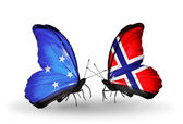 Butterflies with Micronesia and Norway flags — Stock fotografie