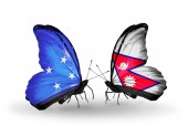 Butterflies with Micronesia and Nepal flags — Foto Stock