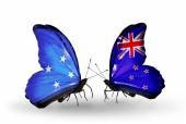 Butterflies with Micronesia and New Zealand flags — Foto Stock