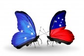 Butterflies with Micronesia and Samoa flags — Foto Stock