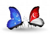 Butterflies with Micronesia and Singapore flags — Stock Photo