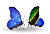 Butterflies with Micronesia and Tanzania flags — Stock fotografie