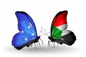 Butterflies with Micronesia and Sudan flags — Foto Stock