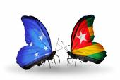 Butterflies with  Micronesia and Togo flags — Stock fotografie