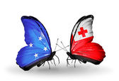 Butterflies with Micronesia and Tonga flags — Foto Stock