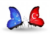 Butterflies with Micronesia and Turkey flags — Stock fotografie